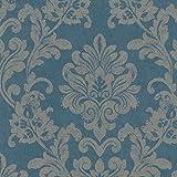 Marburg Tapete 10,05 x 0,53 m - Gerader Ansatz - Glatt - Stil: Ornament - z.B. Wohnzimmer, Schlafzimmer, Esszimmer, Lounge - Farbe: Petrol Silber