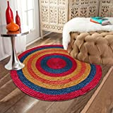The Home Talk Multicolor Jute (braided and naturally dyed) floor Rug/Carpet/ Doormat, Best for Living room/ Drawing Room/Bed room, 90 cm Round- MULTICOLOR
