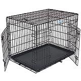 Songmics 2 Portes Cage Pour Chien - Pliable et Transportable - avec Poignée et Plateau - L: 91 x 58 x 64 cm PPD36H