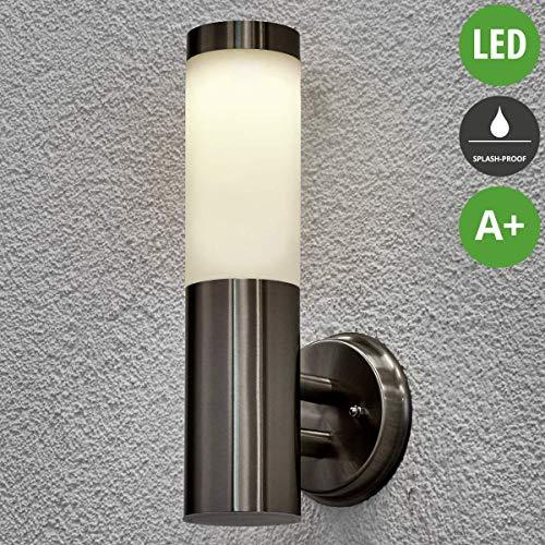Lampenwelt LED Solarleuchte außen \'Jolla\' (spritzwassergeschützt) (Modern) in Alu aus Edelstahl (1 flammig, A+, inkl. Leuchtmittel) - Solar-Wandleuchten, Wandlampe für Outdoor & Garten