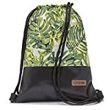 By-Bers LEON Tasche Turnbeutel Rucksack Sportbeutel Gym Bag Gymsack Hipster Fashion (Philodendron)