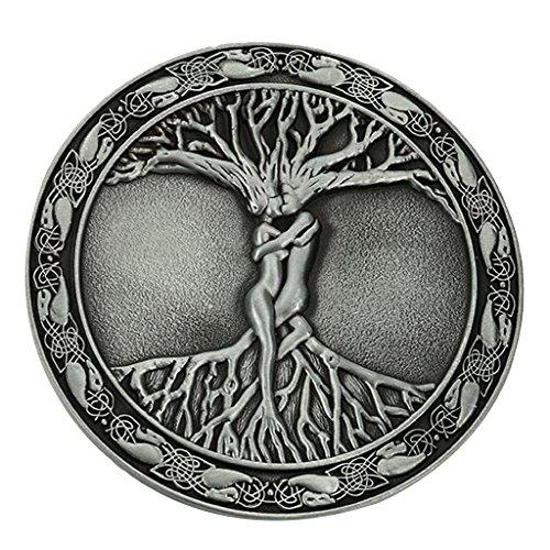 Baoblaze Vintage Baum Des Lebens Liebe Branch Nordic Mythologie Gürtelschnalle 8cm Durchmesser Fit 3,6-3,9 Cm Gürtel - Metallisch, 8cm (Griechisch-gürtelschnalle)
