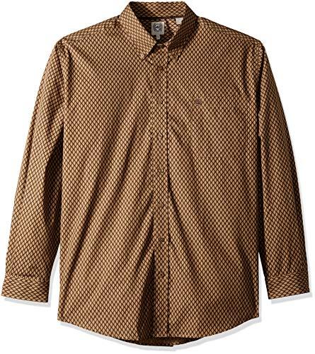 Button-down One Pocket Shirt (Cinch Herren Classic Fit Long Sleeve One Open Pocket Print Shirt Button Down Hemd, Brown Cross Hatch, XX-Large)