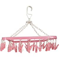 Kuber Industries Clip and Drip Hanger - Hanging Drying Rack - 32 Clips (Pink)-KUBMART15540