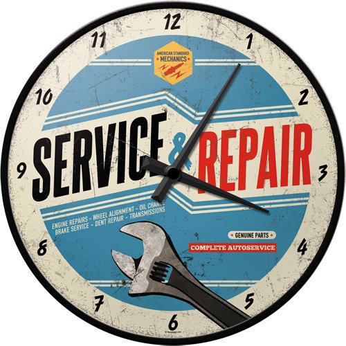 Nostalgic-Art 51062 Best Garage - Service & Repair, Wanduhr 31cm