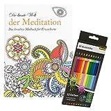 Idena 10122901 - Malbuch für Erwachsene, Motiv Meditation, inklusive 12 Buntstifte