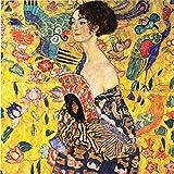Legendarte P-257 Quadro di  Gustav Klimt - Dama con Ventaglio, Stampa digitale su tela, Multicolore, cm. 90 x 90