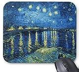 Gaming-Mauspad Sternennacht über der Rhone Vincent van Gogh Design für Desktop und Laptop 1 Packung 30x25 cm / 11.8x9.8in