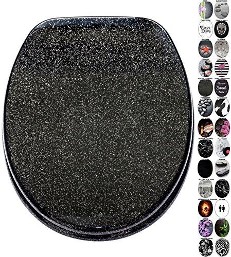 WC Sitz mit Absenkautomatik, viele schöne schwarze WC Sitze zur Auswahl, hochwertige und stabile Qualität aus Holz (Glitzer Schwarz)