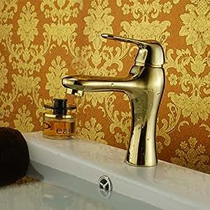 HIJI vergoldet Kupfer-kaltes Wasser und heißes Wasser Ein Waschbeckenarmatur,