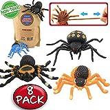 Juguete de araña, Juguetes de Araña Negra de Goma Simulada de 5 pulgadas (8 paquetes), material grado alimenticio – TPR de super elasticidad. Favoritos para la Mascarada de Halloween Horripilante del Mundo Zoológico: Bromas Práctica Nuevas, Viuda Negra