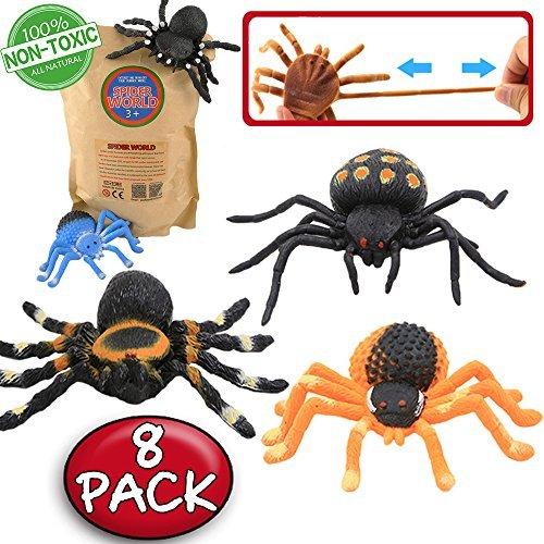 Juguetes de Araña Negra de Goma de 5 pulgadas (8 paquetes),super elasticidad. Favoritos para la Mascarada de Halloween Horripilante del Mundo Zoológico: Bromas Práctica Nuevas, Viuda Negra