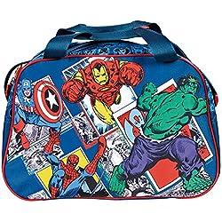 PERLETTI Bolso Deportivo Marvel Los Vengadores para Niño - Bolsa da Deporte Avengers para el Gimnasio y Viajes con Capitán América Iron Man Spiderman y Hulk - Azul - 28x41,5x21 cm