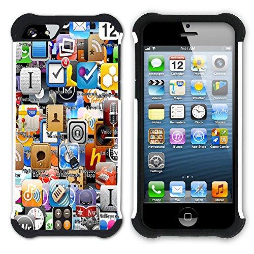 Graphic4You Rainbow Stripes Design Hart + Weiche Kratzfeste Hülle Case Schale Tasche Schutzhülle für Apple iPhone SE / 5 / 5S Design #2