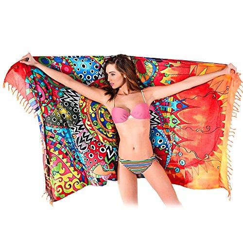 Greforest-asciugamano rettangolo spiaggia con nappa rosso sun fiori di cotone telo mare wrap scialle