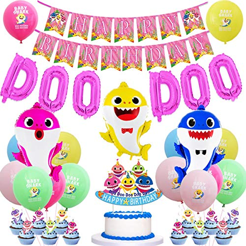 JOYMEMO Baby Shark Party Supplies Geburtstag Dekorationen Pink für Mädchen Baby Shark DOO DOO Folienballons Alles Gute zum Geburtstag Banner Cake Topper Baby Cute Shark Party Decor
