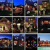 HAPPYMOOD Dekorativ Projektion Lampe Wasserdicht LED Licht Weihnachten Halloween Beamer Innen Draussen 12 Modi Unterhaltung Anzeigen