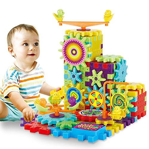 Spielzeug-Gebäude Lustige Block-Ziegelsteine Elektrische Ausrüstung 81 PCs Set-Interlocking Lernblöcke -Elektrische Rotary Gear - Motorisierte Spinning Gears (Spinning Gear)