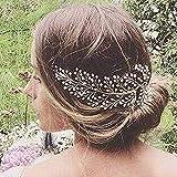 Simsly Mariage Cheveux Vines mariée Bandeaux Accessoires pour brides et Demoiselles d'honneur (Gold) Fs-189