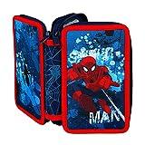 Undercover SPON0430 - Doppeldecker Schüleretui Spiderman mit Stabilo, Markenfüllung, 29-teilig, blau