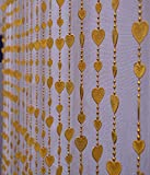 Pindia 6Ft Strings Bead Curtain Golden Heart Fancy Sparkling Door Window String Beads Thread Sheer Shear Rod Room Hanging - GOLDEN - 6 X 3.5 FT