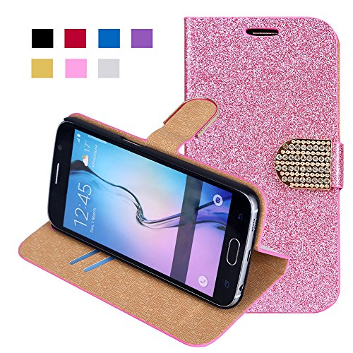 Galaxy S6 Case, FISHBERG Luxury Phone Case Bling Glitter Magnetic Design Flip Folio PU Leather Stand Up Protective Cover Wallet Case for Samsung Galaxy S6 with a Free Pen (Pink)