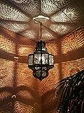 Orientalische Lampe Pendelleuchte Rostfarben Harun E27 Lampenfassung | Marokkanische Design Hängeleuchte Leuchte aus Marokko | Orient Lampen für Wohnzimmer, Küche oder Hängend über den Esstisch