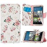 HTC One M9 Hülle Klapphülle von NICA, Slim Flip-Case Kunst-Leder Vegan, Phone Etui Schutzhülle Book-Case, Dünne Vorne Hinten Handy-Tasche Wallet Bumper für HTC One M9 - Pretty Roses Edition