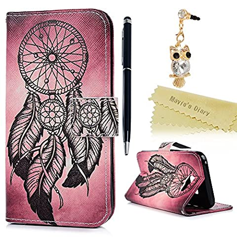 Samsung Galaxy A5 2017 Case - Mavis's Diary Wallet Flip Bumper Cover PU Leather Case Shockproof Printing Design with Soft Inner TPU Case Slim Fit Folio Stand Protective Magnetic Closure Cover with Dust Plug & Stylus Pen for Samsung Galaxy A5 (2017 Model) - Feather