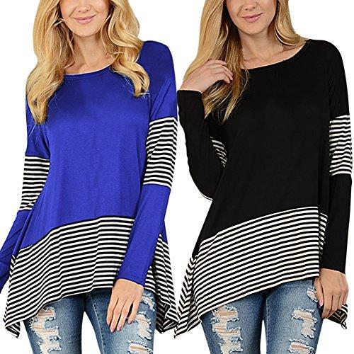 iBaste Damen Langarmshirt Blusen T-Shirt Oberteil unregelmäßig Shirt mit Streifen Tunika für damen Tops Blau