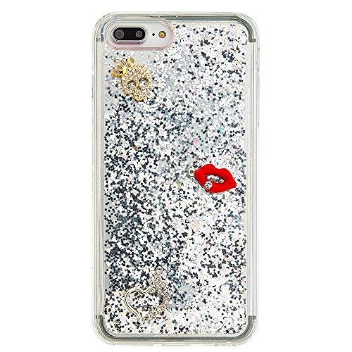 """Flüssiges Case Ultra Thin Dünn TPU Silikon Schutzhülle für iPhone 7 plus 5.5"""" 3D Kreative Liquid Handyhülle Durchsichtig Rückseite Tasche Glitter Shiny Kristall Klar Handytasche Sparkle Dynamisch Trei E13"""