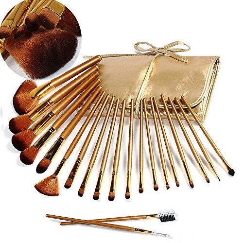 VALUE MAKERS 21 pcs/set Pinceaux Maquillage Brush Set pour Concealer Foundation sourcils Blush Brush Cosmétique Beauté & Make-up Manche en Bois + Sac En Cuir