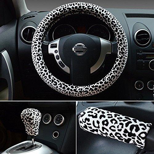 Preisvergleich Produktbild Damen Frauen Lovely sexy Leopard Maserung Fell Lenkradbezug Universal Fit 38 cm kaufen 1 get 1 Stalls & Handbremse Cover