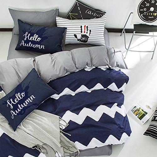 Aik@ Baumwolle Haushalt Bettbezug Setzt 4 Teilig Twin-königin Voll King Single Doppelbett Blatt Quilt Cover Kissenbezug Kissen Shams-C Full/Queen(200x230cm)