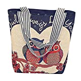 VJGOAL Damen Schultertasche, Damen Mädchen Cartoon Eule Canvas Handtasche Schultertasche Umhängetasche Schultertaschen Geschenk der Frau (33*10*32cm, G)
