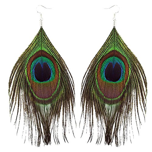 Sorella'z Peacock Feather Earrings (two pieces for both ear)
