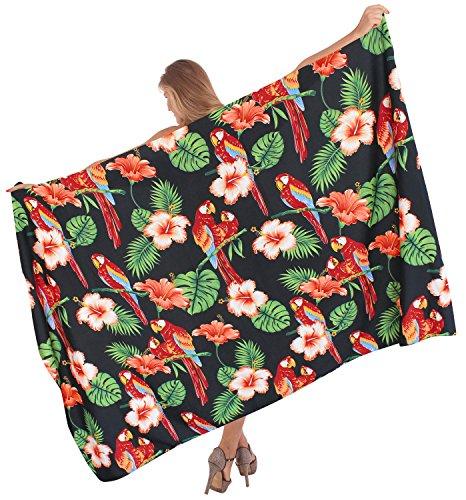 La Leela likre Farn grünen Hibiskus-Bikinibadebekleidung Sarong 78x42inch schwarz glatt (Hibiskus Kleid Sarong)