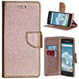 Zaoma Diary Type Flip Cover for PANASONIC P75 - ROSE GOLD