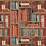 Fabulous Fabrics Jacquard Gobelin Bücherregal – braun — Meterware ab 0,5m — zum Nähen von Outdoor-Deko, Kissen und Tagesdecken und Tischdekorationen