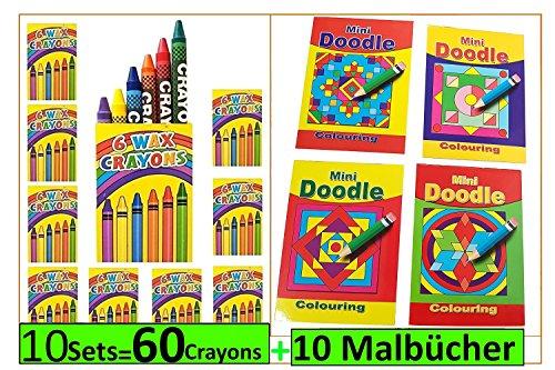 Libetui 10 Sets Wachmalstifte und Mini-Malbuch Malbücher Doodle Mandala 148x105mm Mitgebsel Kindergeburtstag Party Hochzeit