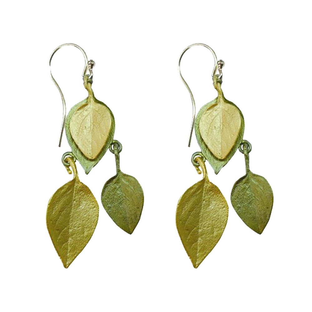 """Sweet Basil"" Two-Toned Hanging Earrings by Michael Michaud for Silver Seasons."