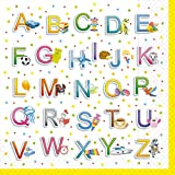 60 Servietten Schulanfang Set 01 - Alphabet - Servietten Einschulung -