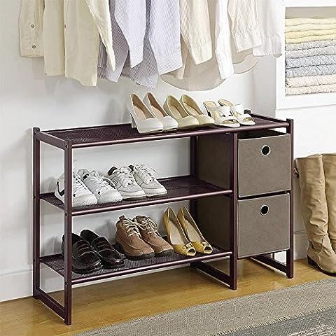 Organise It 3-Tier Shoe Rack with Two Storage Bins