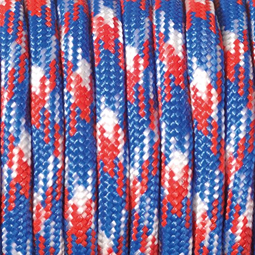 Paracord 4 mm x 50 m de Couleur Mix-Rouge/Bleu/Blanc