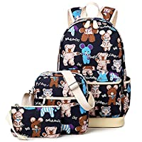 3 Pieces Cute Animal School Backpack Set 14inch Laptop Bookbags for Girls (Blue Dance Bear)