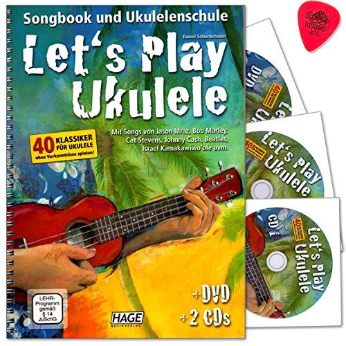 Let's Play Ukulele - Songbook und Ukulelenschule mit 2 CDs und DVD von Daniel Schusterbauer - 40 Klassiker für Ukulele ohne Vorkenntnisse spielen - mit Original Dunlop Plek