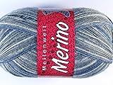 Lana Grossa Meilenweit 100 Merino Print 2280 Grau/Natur/Jeans 100g