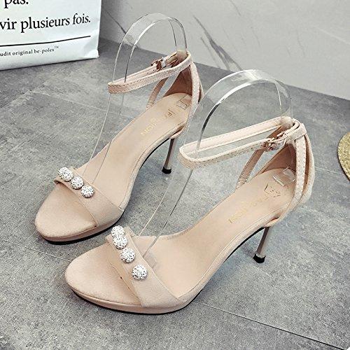 XY&GKSandales sandales pour femmes, les orteils, fine, confortable, simple , Chaussures pour femmes,avec le meilleur service 34Beige