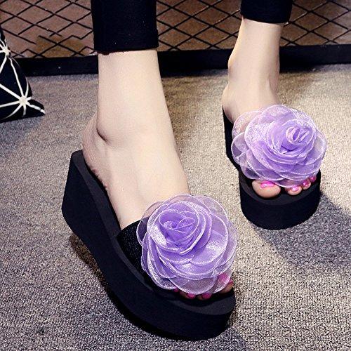 Estate Sandali 3cm / 7 centimetri femminili pistoni di estate spessi donne inferiori pistoni freddi Nuove scarpe da spiaggia moda (blu / nero / arancio / viola) Colore / formato facoltativo 7CM-Purple