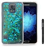 Slynmax Galaxy S5 Hülle Durchsichtig TPU Glitzer Liquid Case Silikon Schutzhülle für Samsung Galaxy S5 / S5 Neo Bumper Handyhülle Tasche Dual-Layer Treibsand Shell(Blau)